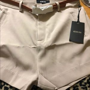 Active USA Solid Mid Waist shorts
